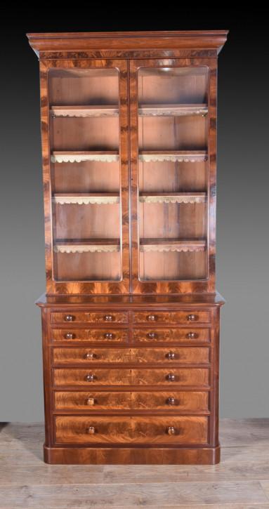 Viktorianischer Mahagoni Bücherschrank Massivholz antik 1850