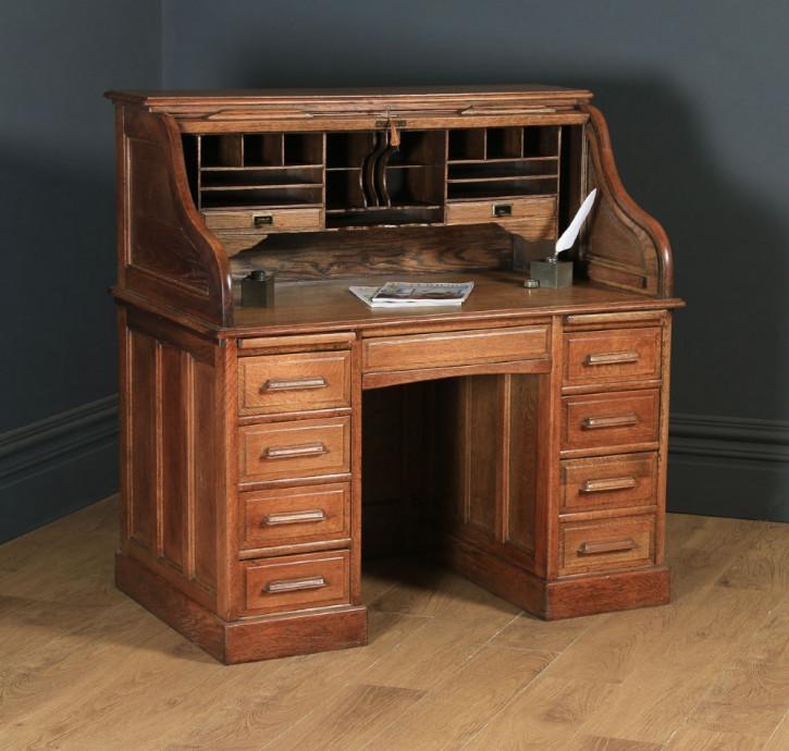 Edwardianischer Eichen Schreibtisch Massivholz antik ca 1910