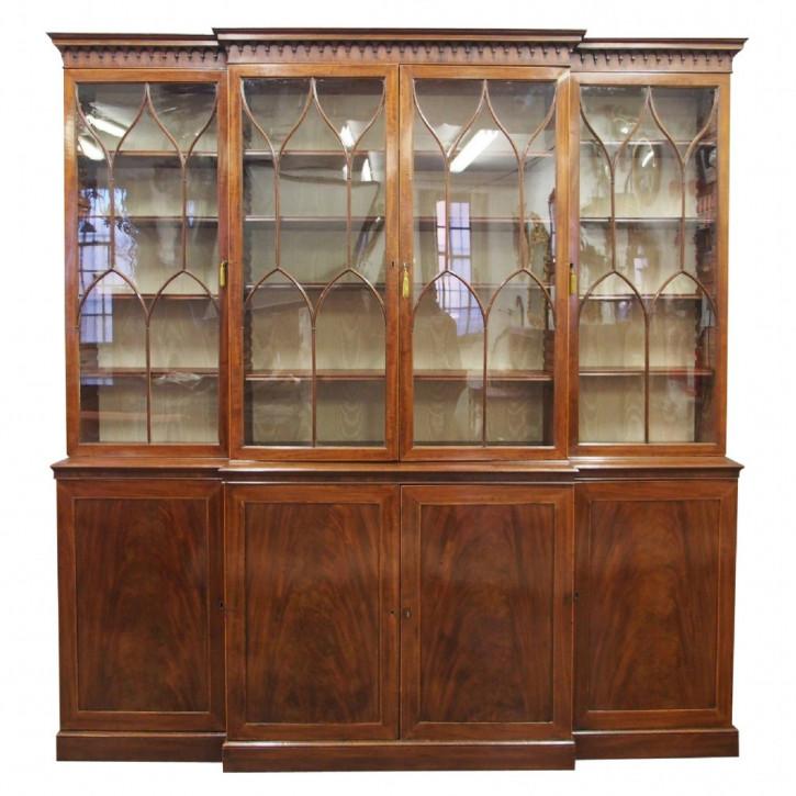 breakfront Bücherschrank Mahagoni Masivholz antik 1780