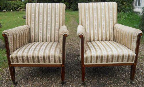Paar Edwardianische Sessel aus Mahagoni