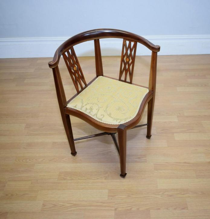 Eck Stuhl antik Mahagoni Massivholzstuhl ca. 1910
