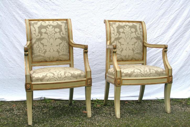 Paar italienisches Massivholz Stühle antik ca 1800