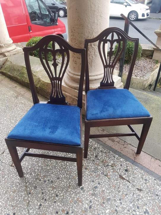 Georgianisches Paar Mahagoni Stühle Massivholz antik ca 1790