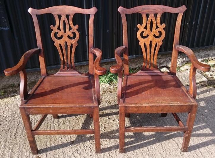 Paar Chippendale Stühle Massivholz antik ca 1790
