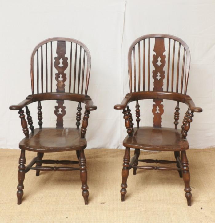 Paar Eichen Stühle Massivholz antik 19. Jahrhundert