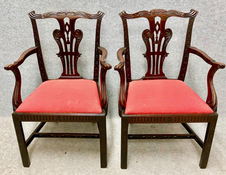 Paar Chippendale Mahagoni Stühle Massivholz antik 19. Jahrhundert