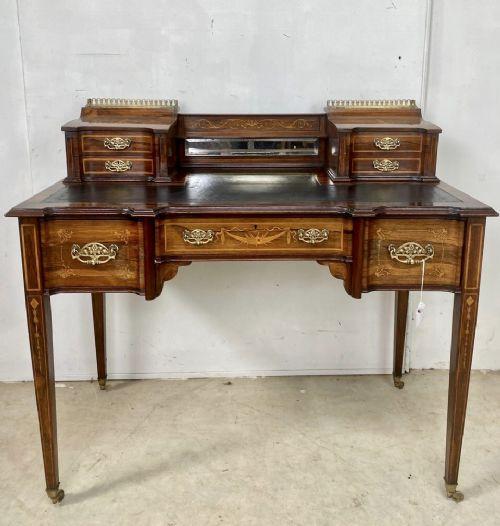 Viktorianischer Palisander Schreibtisch Massivholz antik ca 1890
