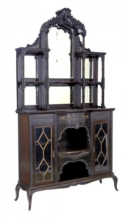 antiker Chippendale-Schrank aus Mahagoni Massivholz 1905
