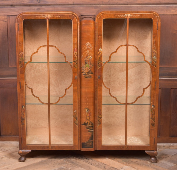 walnut chinoiserie decorated display cabinet