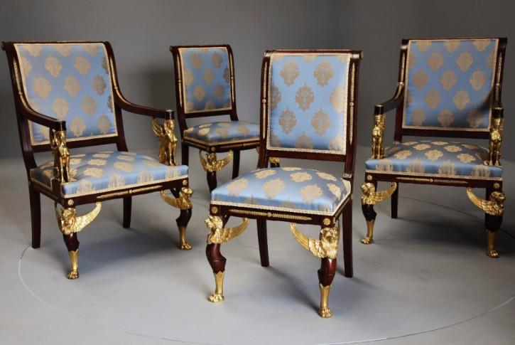 antiker Satz von vier Stühlen Mahagoni Massivholz 1900 englisch