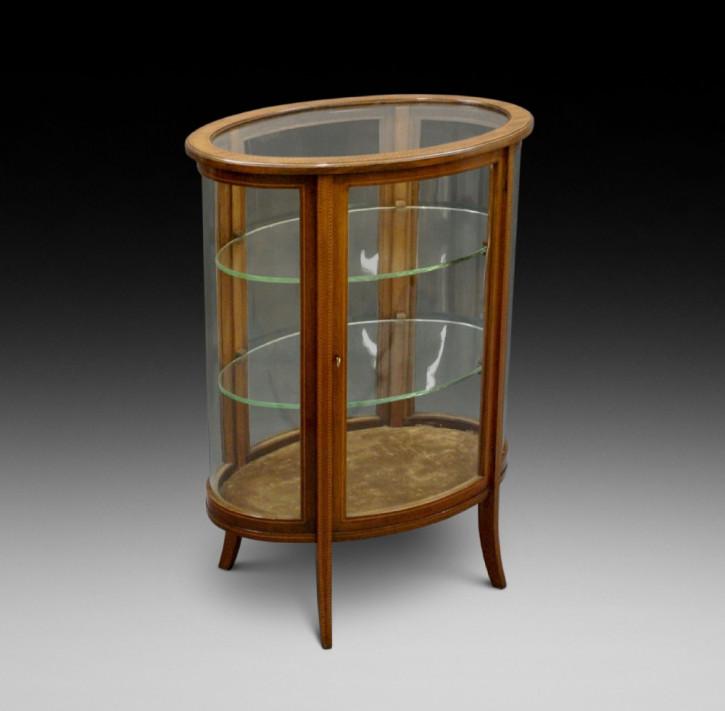 Antike Mahagoni Schmuckvitrine / Bijouterie Cabinet, oval, edwardianisch, ca. 1910