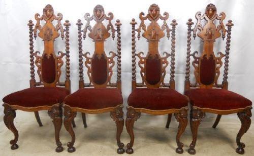 antiker Staz von vier Stühlen Eiche Massivholz 1800 gotischer Stil