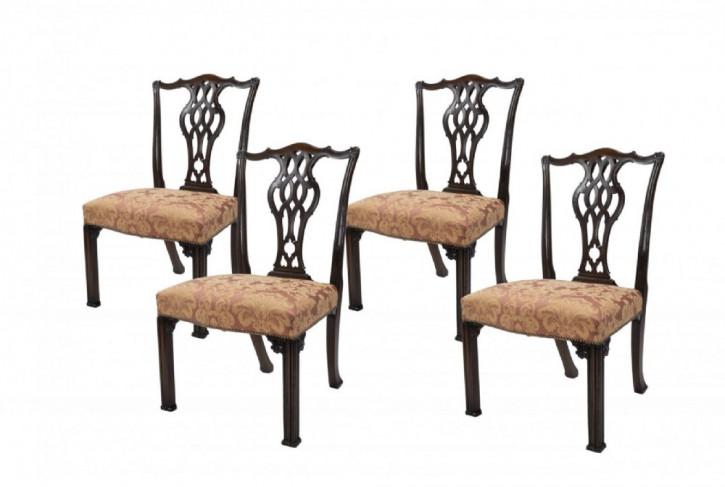 antiker Satz von vier Stühlen Mahagoni Massivholz 1878 Chippendale-Stil