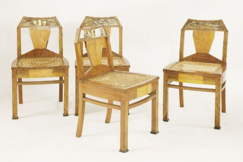 antiker Satz von vier Stühlen Massivholz Mah-Jongg 1920