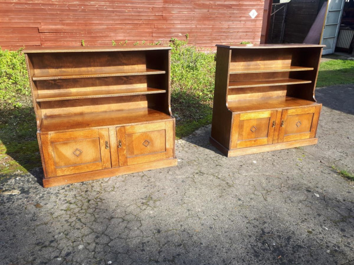 antikes Paar Bücherschränke Eiche Massivholz 1910