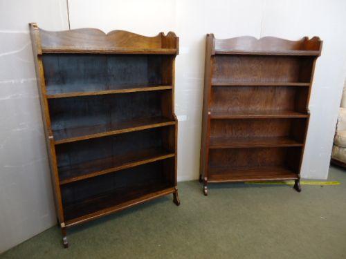 antikes Paar von Bücherschränken Eiche Massivholz 1920