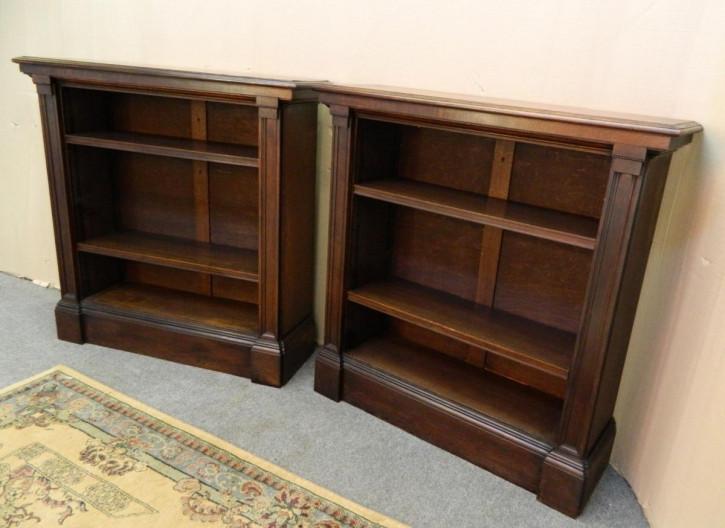 Viktorianisches Paar Eichen Bücherregale Massivholz antik ca 1890