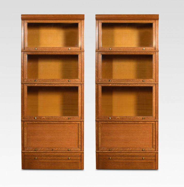 Paar Eichen Bücherschränke Massivholz antik ca 1910