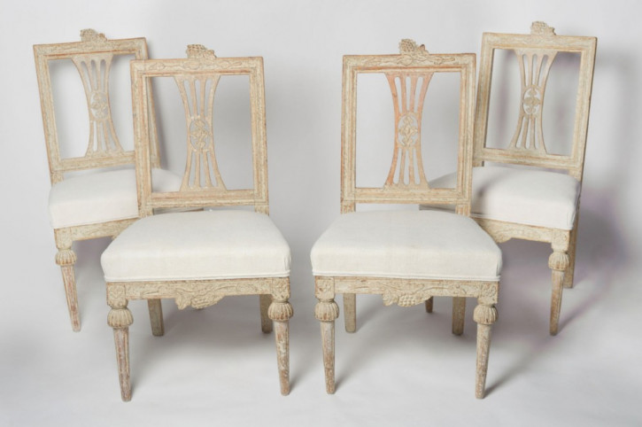 antiker Satz schwedische Lindome-Stühle Massivholz 1790