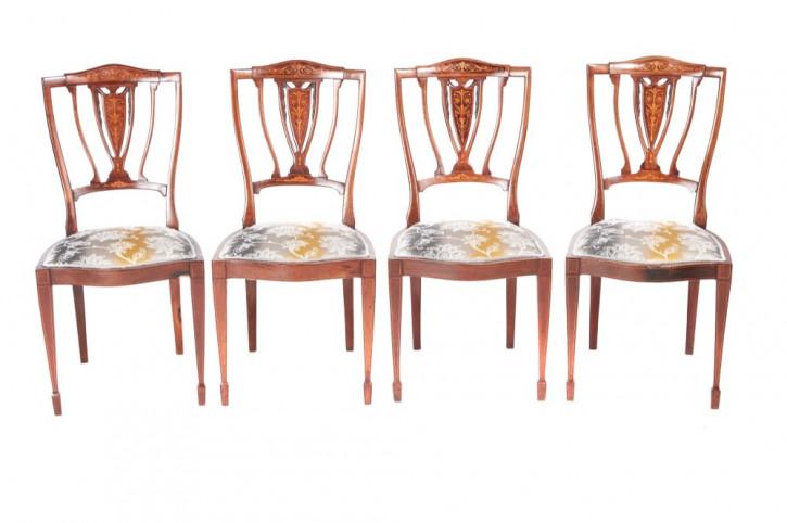 Edwardianisches Set von vier Mahagoni Stühlen Massivholz antik ca 1890