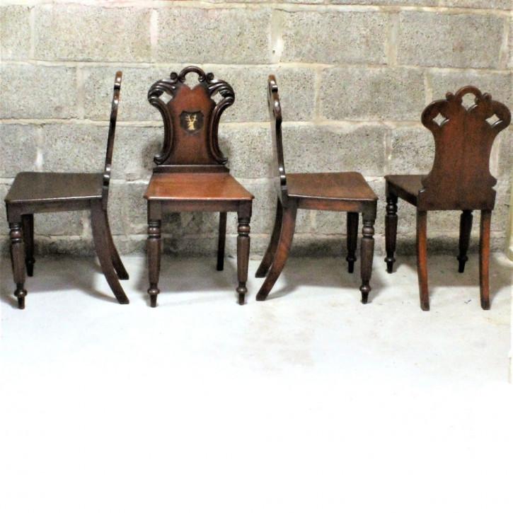 Viktorianisches Set von vier Mahagoni Stühlen Massivholz antik ca 1870