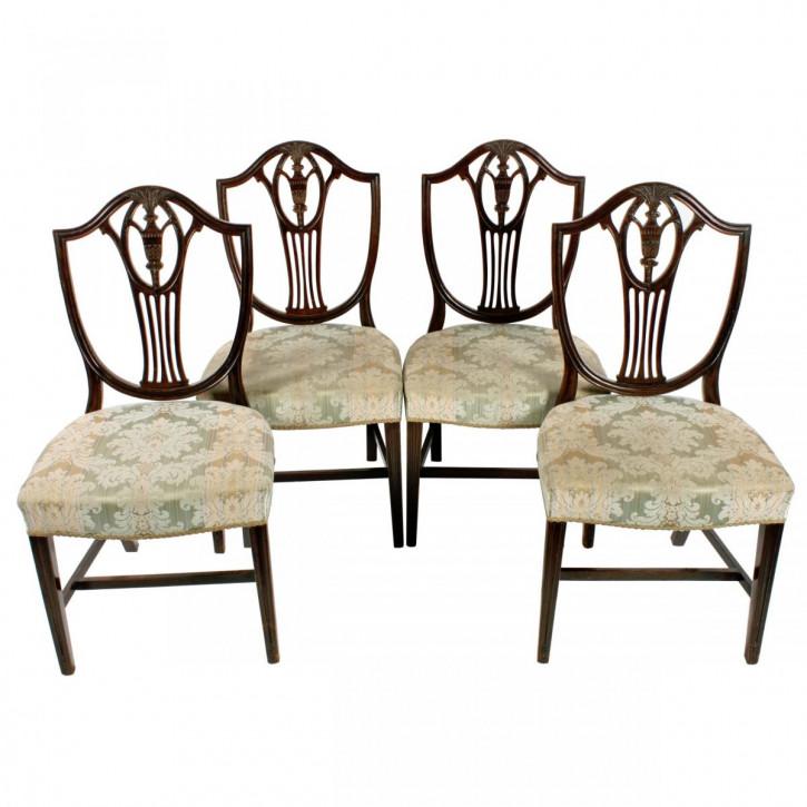 Georgianisches Set von vier Mahagoni Stühlen Massivholz antik ca 1890