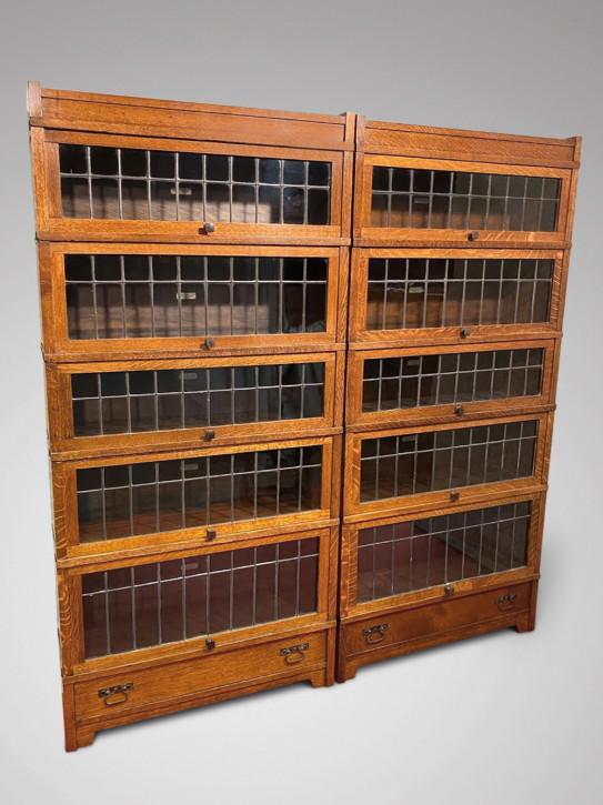 Antikes Paar Globe Wernicke Bücherregal aus Eichenholz