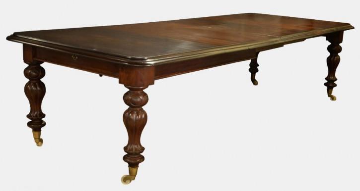 Großer Esstisch Mahagoni Massivholztisch ausziehbar mit drei Brettern antik ca. 1850
