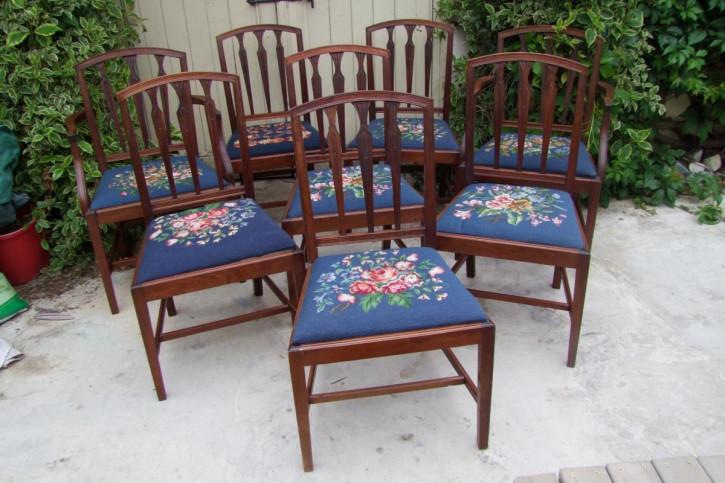 Set mit acht edwardianischen Esszimmerstühlen im georgianischen Stil aus Mahagoni