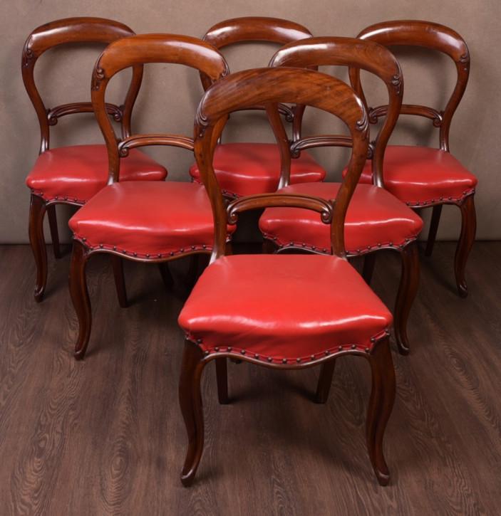 Hochwertiges viktorianisches Set mit sechs Esszimmerstühlen aus Mahagoni