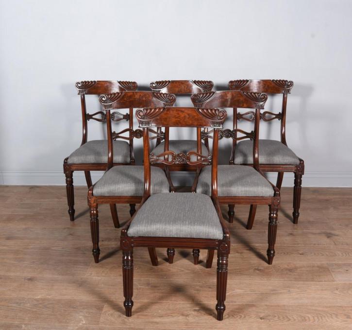 Satz von sechs Regentschafts-Mahagoni-Esszimmerstühlen