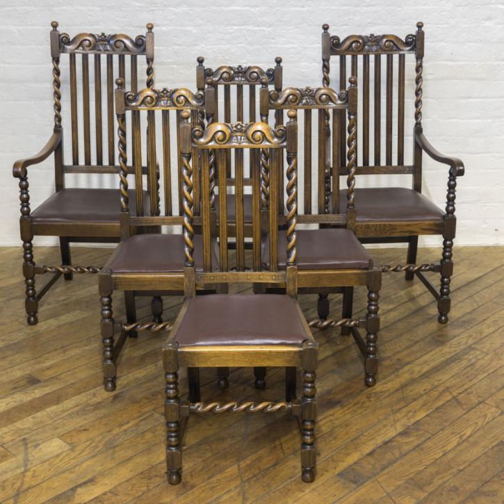 Set aus sechs Stühlen aus Eichenholz im Jacobean Stil