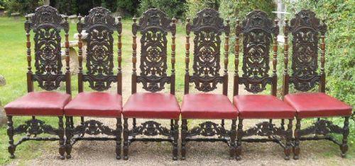 Set aus sechs viktorianischen, geschnitzten Eichenstühlen