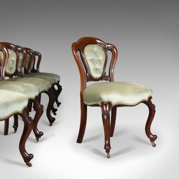 antique set of six dining chairs, english, regency, mahogany, circa 1830
