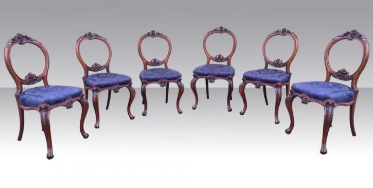 Set mit sechs antiken Palisander-Esszimmerstühlen
