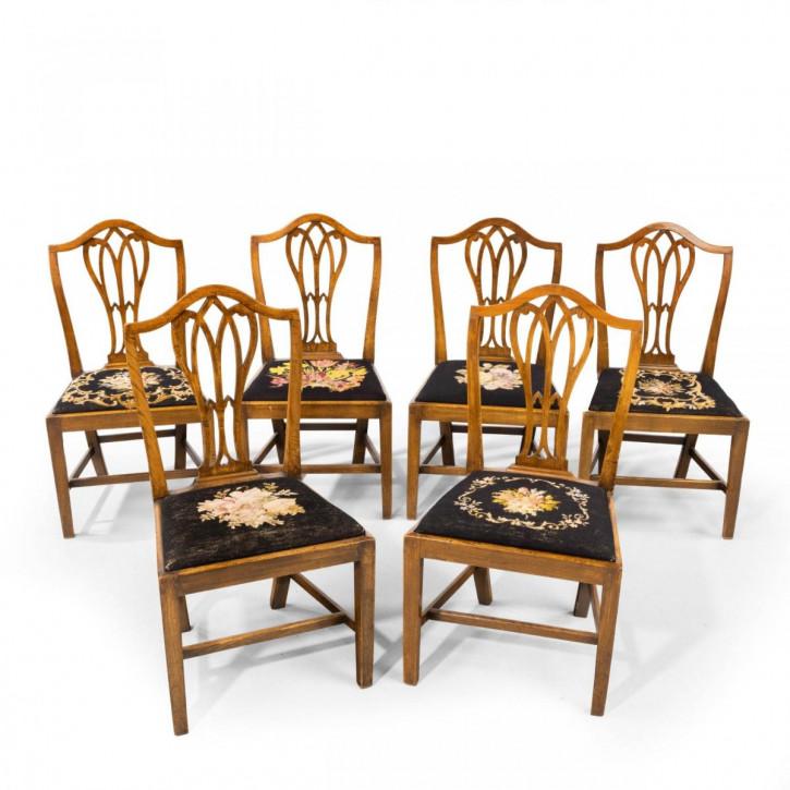 Antiker Satz aus sechs Einzelstühlen mit Hepplewhiteaus der Zeit George III