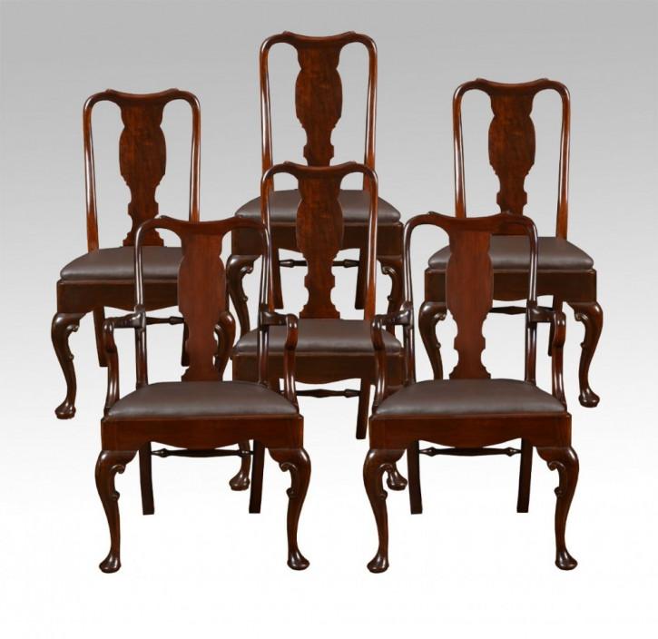 Set mit sechs Stühlen mit hoher Rückenlehne im Queen-Anne-Stil