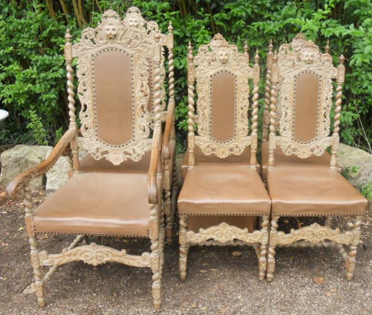 Satz von sechs viktorianischen, geschnitzten Esszimmerstühlen