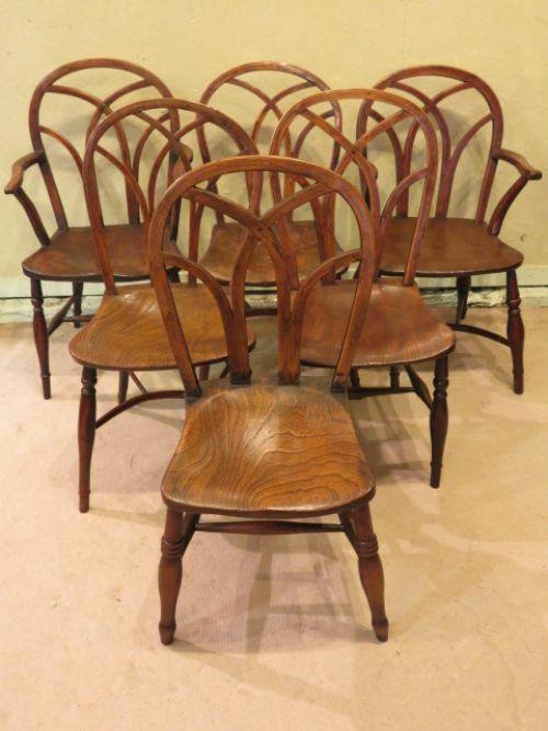 ein Satz von sechs gotischen Esszimmerstühlen, antik, ca. 19. Jahrhundert