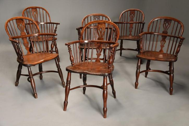Antikes Set aus sechs Windsor Amrlehnenstühle, mit niedriger Rückenlehne aus Eibe, ca. 1840