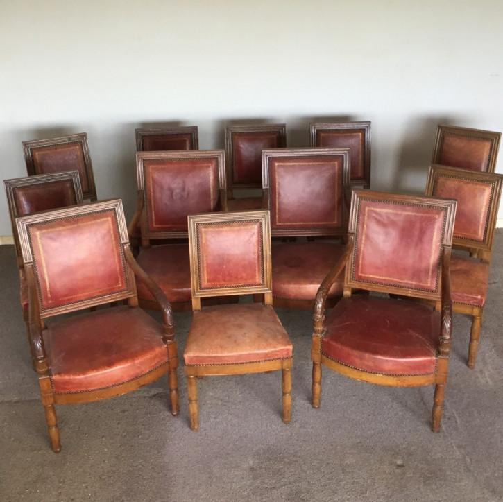 Set mit zwölf französischen Esszimmerstühlen aus der Zeit Napoleon III