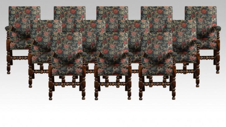 Set mit zwölf Esszimmerstühlen aus Eiche, antik, ca. 1910