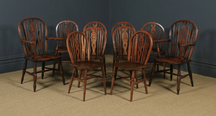 Antikes englisches Set mit 10 Windsor Rückenlehnen Stühlen, ca. 1900