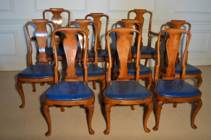 Set aus 10 dekorativen Esszimmerstühlen im Queen Anne Stil in fantastischem Zustand, ca. 1880