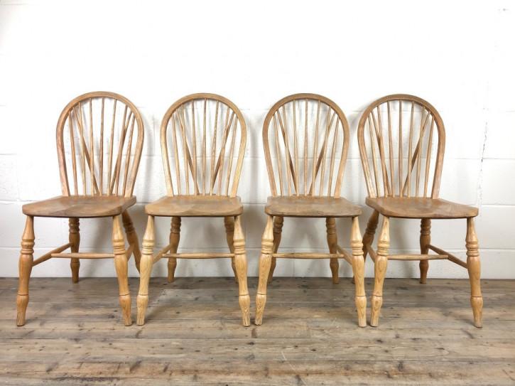 Set mit vier Bauernstühlen aus Buche und Ulme aus dem frühen 20. Jahrhundert, antik