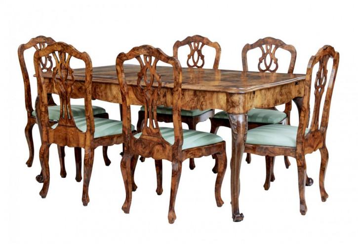 Antiker schwedischer Nussbaum Esstisch mit sechs Stühlen aus dem 19, Jahrhundert