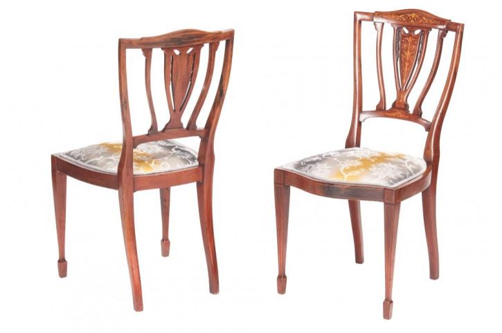Qualitätspaar edwardianischer Mahagoni und Palisander Seitenstühle