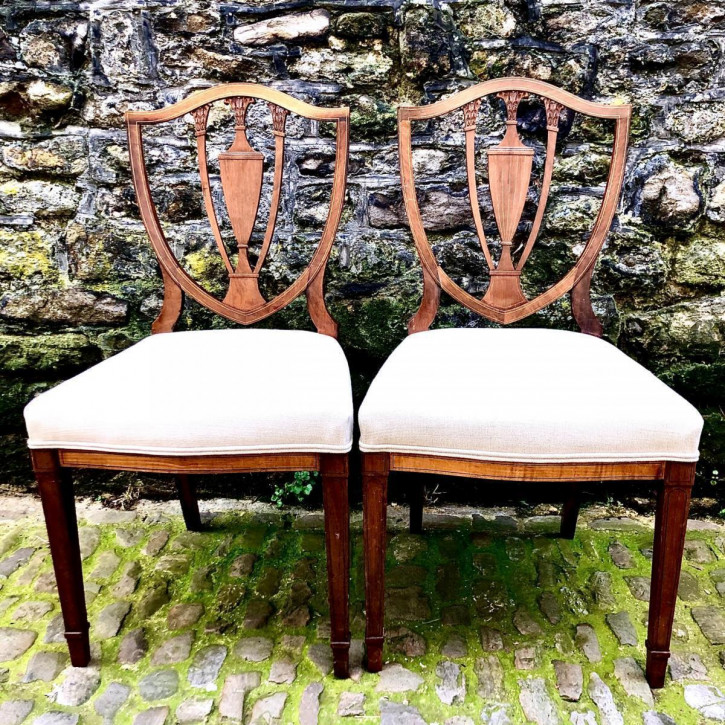 Antikes Paar edwardianischer Side Chairs aus Mahagoni