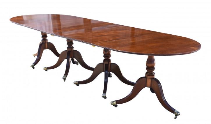 Premium! Antiker Esstisch mit Mahagoni-Sockel im Regentschaftsstil