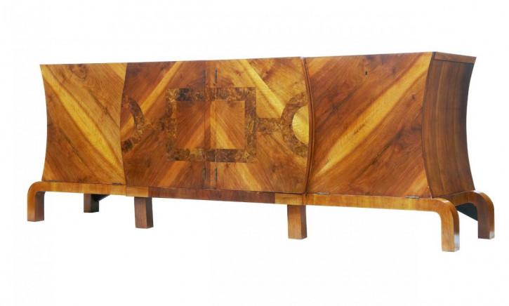 Großes Art-Deco-Sideboard aus Walnussholz